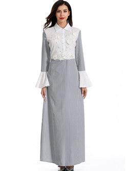 Flare Sleeve Lace Beading Patchwork Maxi Dress