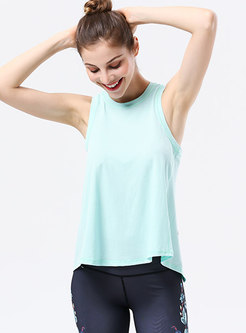 Solid Color Backless Loose Sport Top