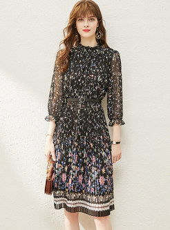 Black Mock Neck Floral Pleated Dress