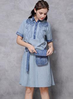 Plus Size Lapel Striped Shift T-shirt Dress