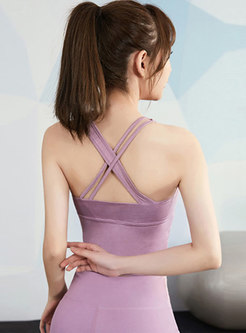Scoop Back Cross Slim Yoga Top