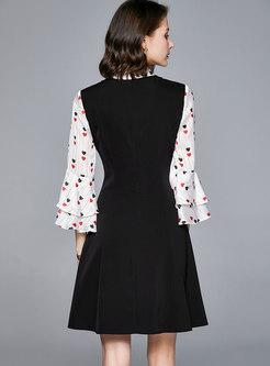 Print Flare Sleeve Patchwork Skater Dress