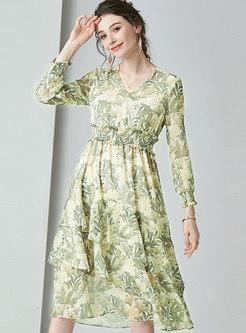 V-neck Long Sleeve Print Asymmetric Dress