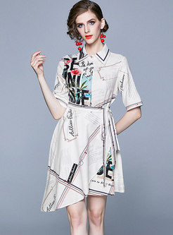 White Turn Down Collar Print Shirt Dress