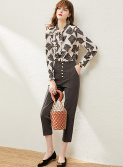 V-neck Print Chiffon Straight Pant Suits