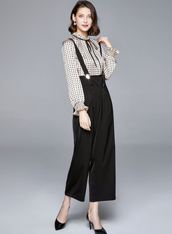 V-neck Pullover Loose Palazzo Pant Suits