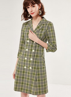 Notched Plaid A Line Mini Dress