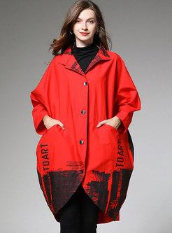 Black Bat Sleeve Gradient Plus Size Coat