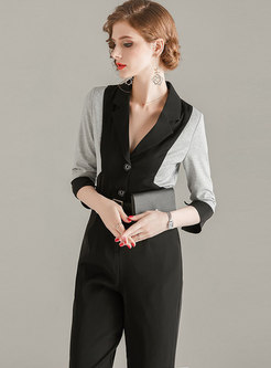 Color-blocked Notched Straight Jumpsuit