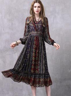 V-neck Long Sleeve Print Chiffon Maxi Dress