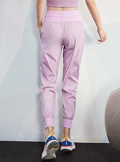 Color-blocked High Waisted Casual Joggers