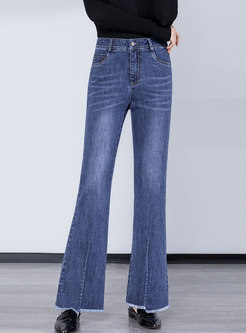 High Waisted Fringed Selvage Flare Jeans