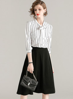 Bowknot Tied Striped A Line Suit Dress