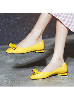 Square Toe Shallow Leather Spring/Fall Shoes