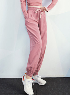Solid Color High Waisted Harem Joggers