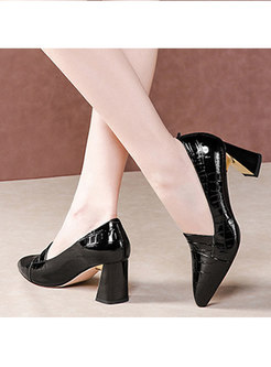 Pointed Toe Chunky Heel Spring/Fall Pumps