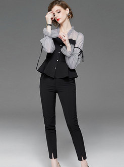 V-neck Falbala Long Sleeve Slim Pant Suits