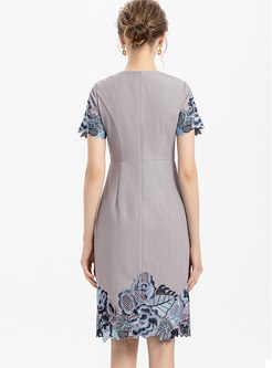 Short Sleeve Embroidered Patchwork Bodycon Dress