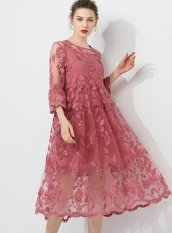 Plus Size Pink Lace Shift Dress With Camisole