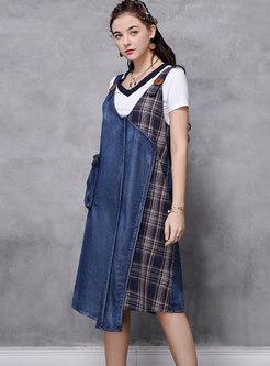 V-neck Plaid Patchwork Denim Shift Dress