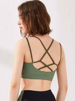 Scoop Color-blocked Quick-drying Yoga Top