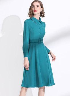 Lapel Long Sleeve A Line Dress With Belt