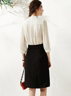 V-neck Bowknot Loose Bodycon Slit Suit Dress