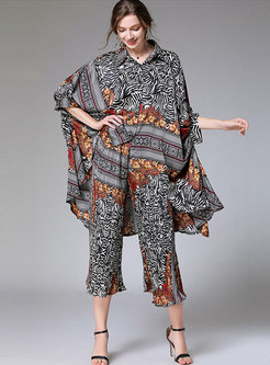 Plus Size Print Asymmetric Loose Pant Suits