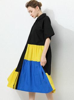 Plus Size Lapel Color-blocked Shift Shirt Dress