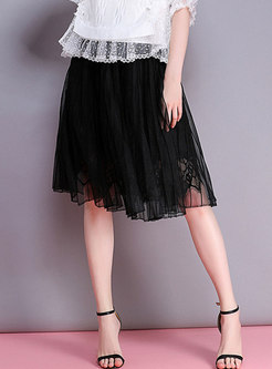 Hight Waisted Lace Patchwork Pleated Skirt