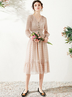 V-neck Long Sleeve Floral Chiffon Dress