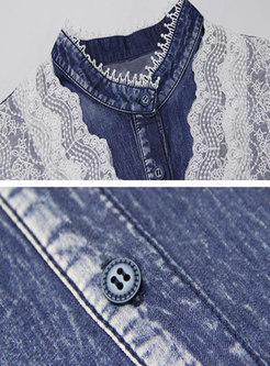 Mock Neck Lace Pacthwork Denim Maxi Dress