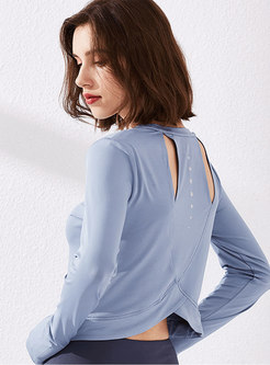 Long Sleeve Backless Cropped Fitness Top