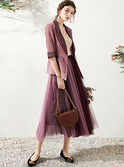 Color-blocked Notched Mesh A Line Suit Dress