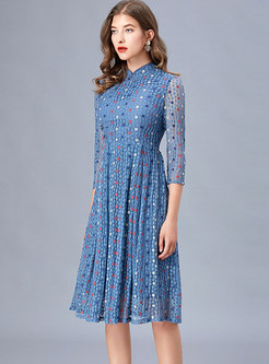 Mandarin Collar Polka Dot A Line Lace Dress