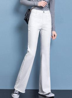 High Waisted Denim Long Flare Pants