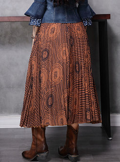 High Waisted Print Pleated Maxi Skirt