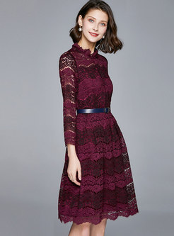 Mock Neck Openwork Lace Skater Dress With Belt