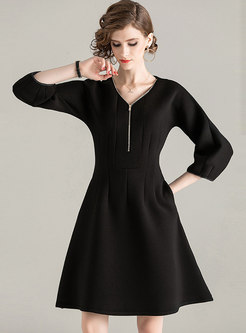 V-neck Lantern Sleeve Front Zipper Skater Dress