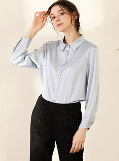 Solid Color Long Sleeve Work Blouse