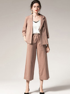 Notched Loose Wide Leg Cropped Pant Suits