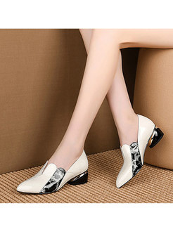 Pointed Toe Print Patchwork Pumps
