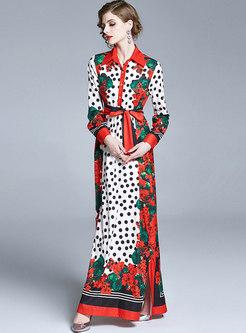 Lapel Long Sleeve Polka Dot Print Maxi Dress