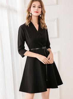 V-neck Belted Little Black Dress