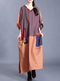V-neck Striped Patchwork Plus Size Shift Dress
