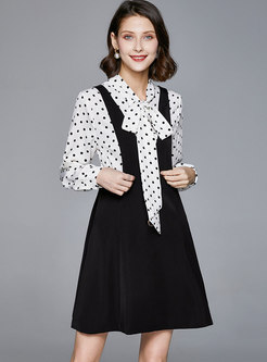Bowknot Polka Dot A Line Mini Suit Dress