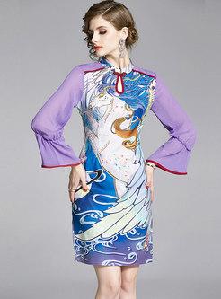 Mock Neck Print Bodycon Improved Cheongsam Dress