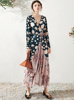 Long Sleeve Print Patchwork Beach Maxi Dress