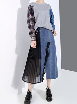 High Waisted Denim Patchwork Skirt