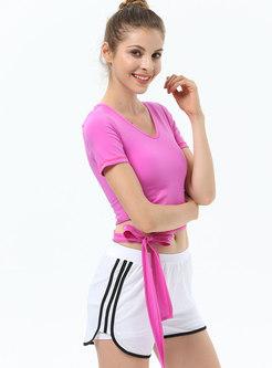 Short Sleeve Openwork Tied Fitness Top